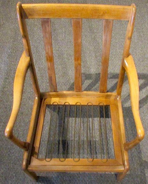 Pair of Danish Oak Upholstered 1970's Open Armchairs - 6