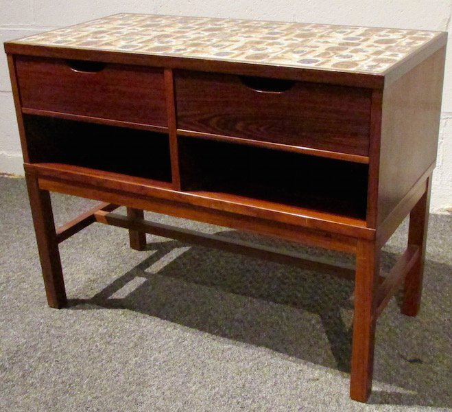 Danish Rosewood Tile-Top Table with Drawers 1970's