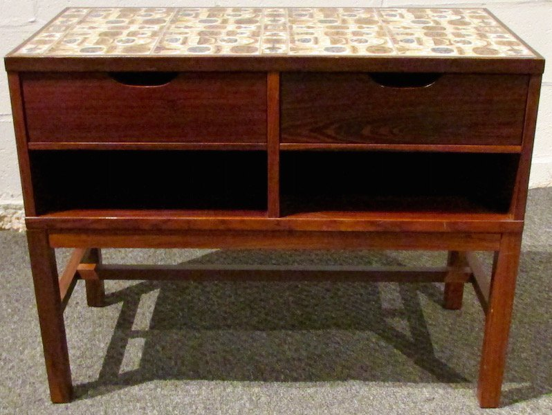 Danish Rosewood Tile-Top Table with Drawers 1970's - 2