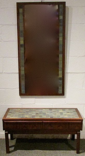 Danish Rosewood Tiled Hall Table and Mirror