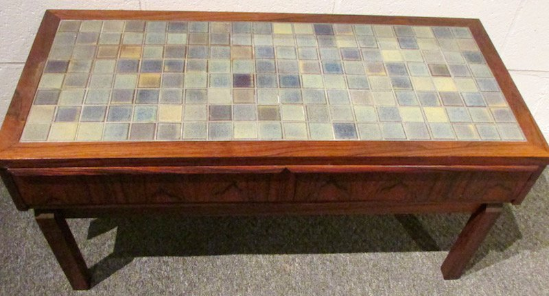 Danish Rosewood Tiled Hall Table and Mirror - 3