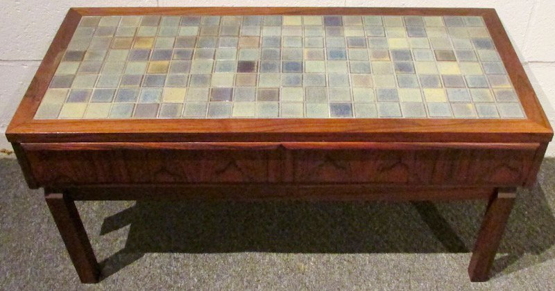Danish Rosewood Tiled Hall Table and Mirror - 4