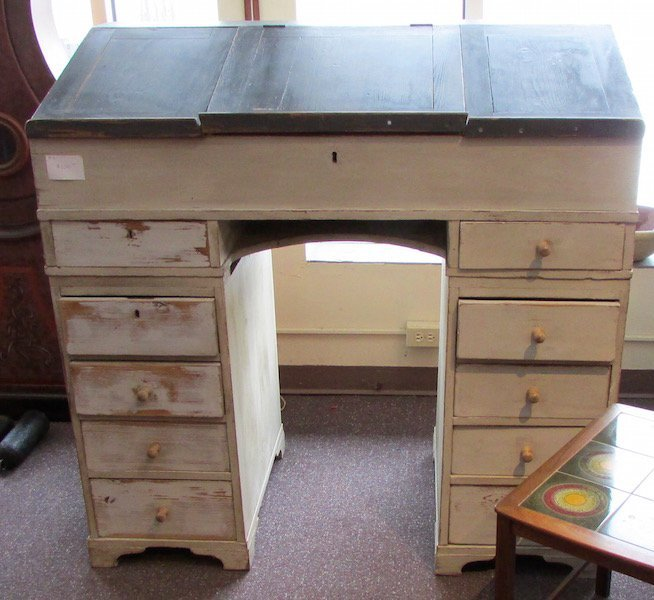 Painted 19th Century Pine Paymasters Desk