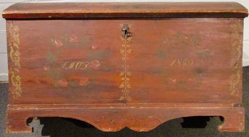 19th Century Painted Pine Dome Top Trunk