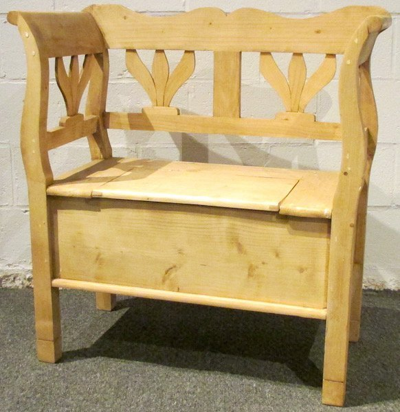 Modern Danish Scrubbed Pine Lift Top Bench