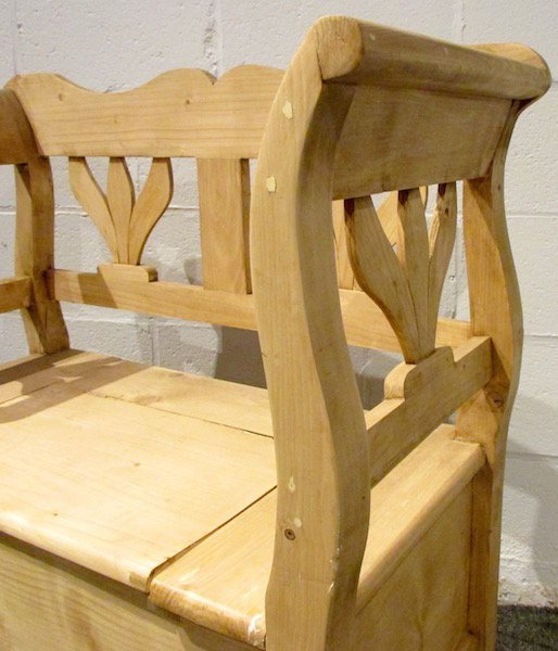 Modern Danish Scrubbed Pine Lift Top Bench - 2