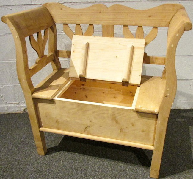 Modern Danish Scrubbed Pine Lift Top Bench - 3