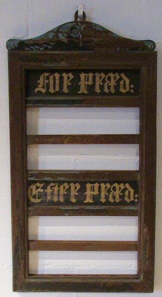 19th Century Danish Hymn Board