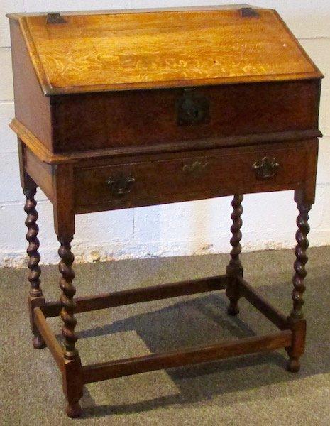 English 18th Century Oak Slant Lid Desk on Frame