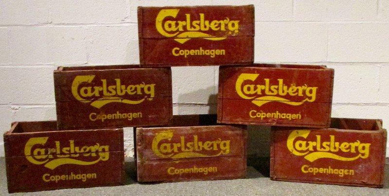 6 Painted Carlsberg Beer Crates