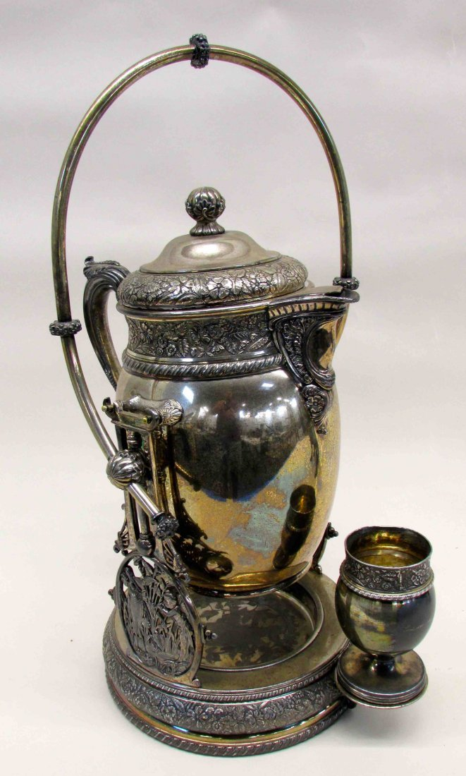 Victorian Tilting Silver Plate Water Pitcher
