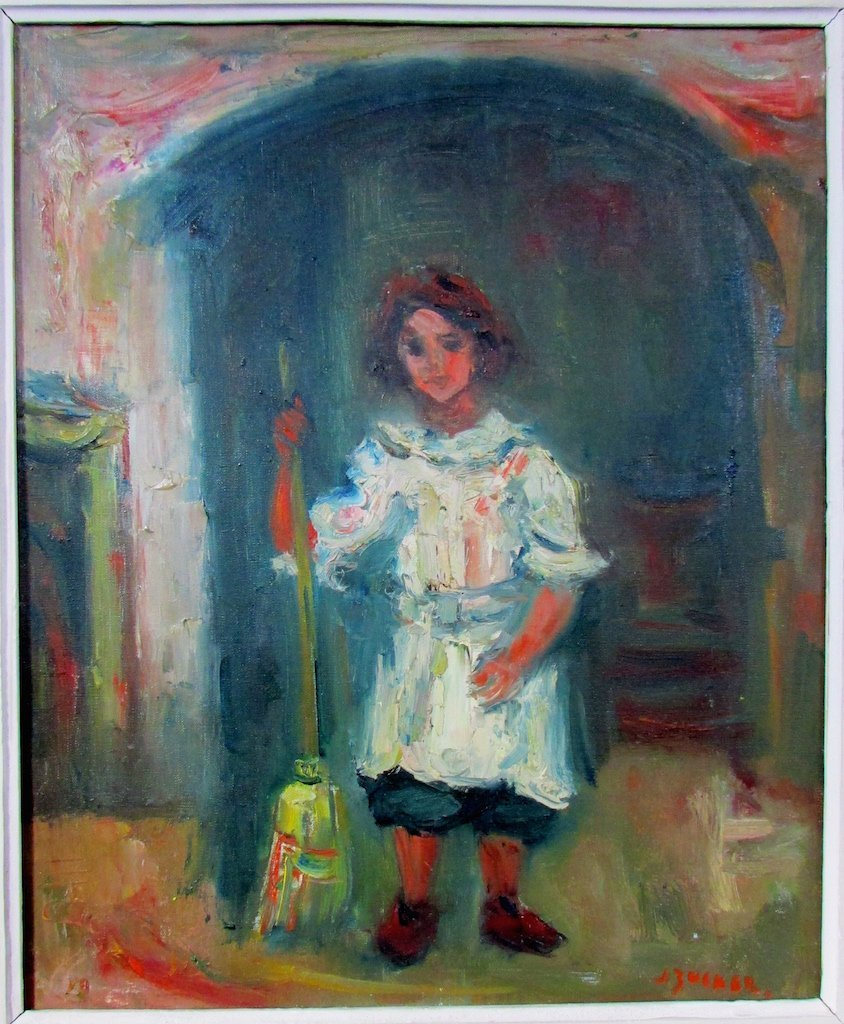 "Jacques Zucker Oil ""Young Girl with Broom in Doorway"""