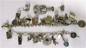 Group of Sterling Bracelets and Charms