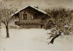 Watercolor of a Chalet in Winter