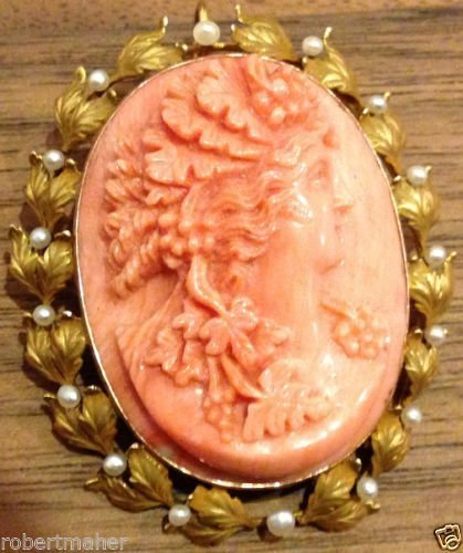 Coral Cameo Brooch With 14K Gold and Pearl Setting