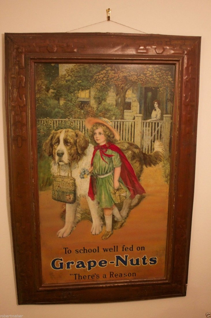 Grape Nuts Cereal Advertising Sign From around 1910