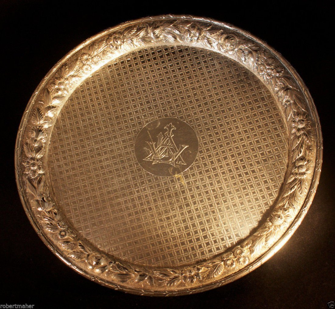 Dominick & Haff Sterling Silver Repousse Footed Tray