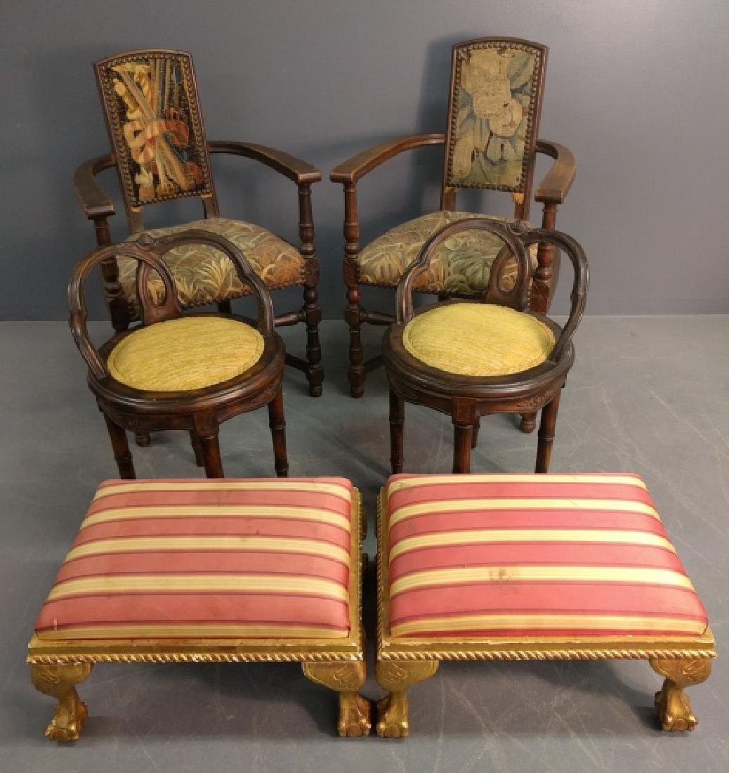 Jacobean style oak armchairs