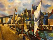 Oil on canvas Cubist painting of sailboats