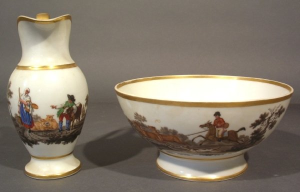 23: Porcelain washbowl and pitcher with foxhunting scen