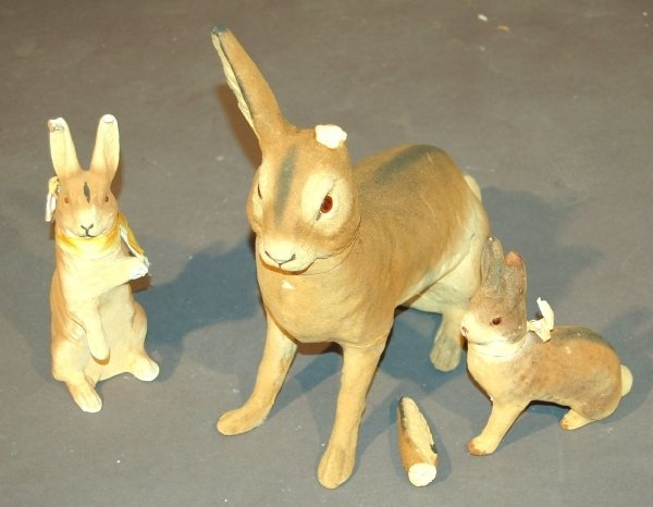 26: Three German composition rabbit candy containers, l