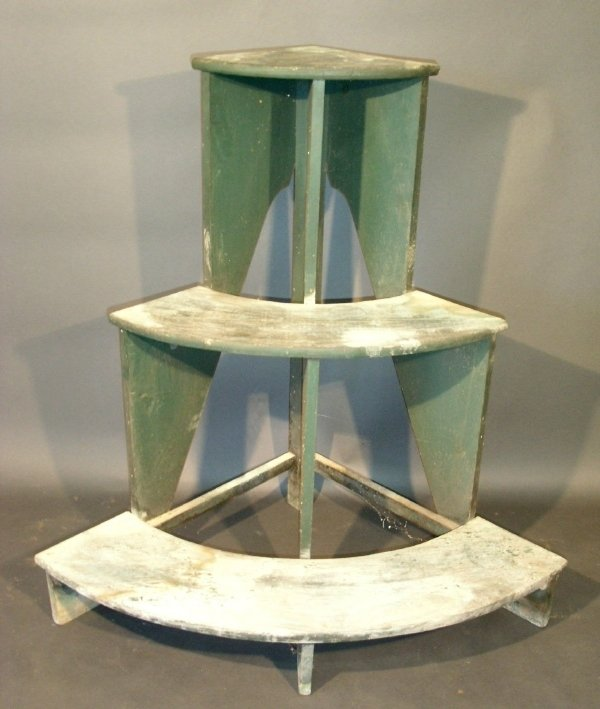 "27: Green painted corner plant stand, 20th c. 43""h.x45"""
