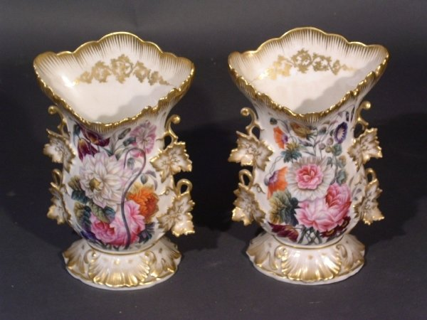 35: Pair of Paris porcelain spill vases. Some wear, min