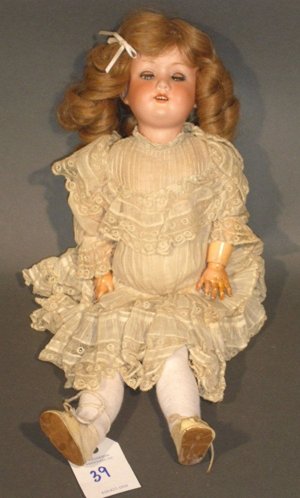39: Armand Marseille bisque head doll, 390 A1½ M. 17.5""