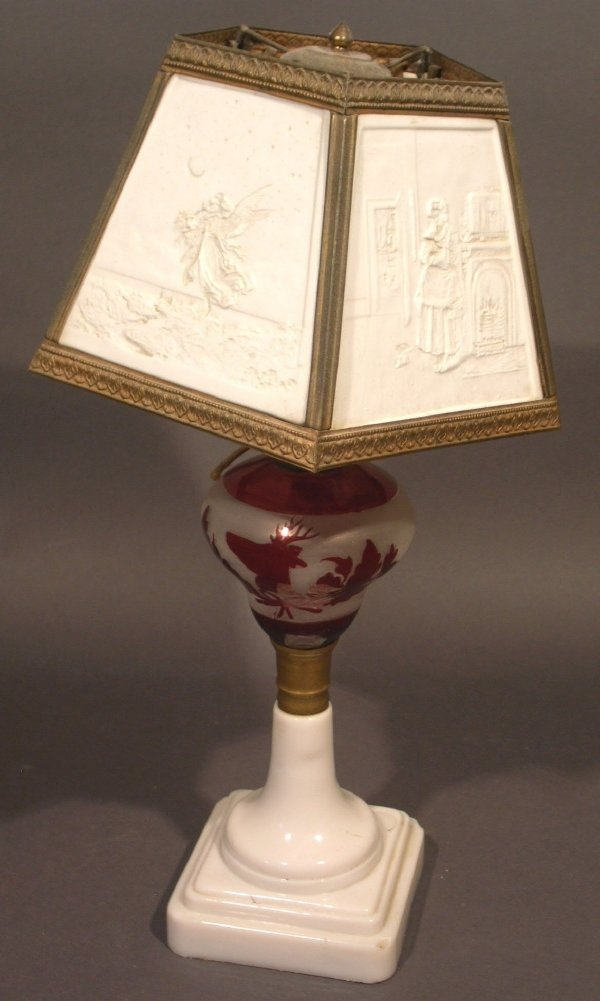 42: Frosted and red glass font oil lamp with lithopane