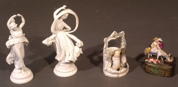 43: Pair of Parian figures of ladies, Staffordshire tri