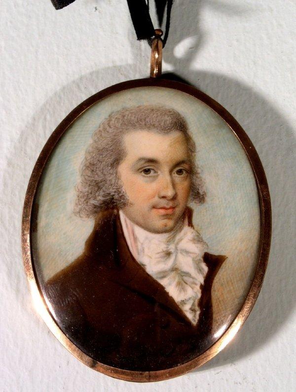 67: Oval miniature portrait of a gentleman attr. to Jam