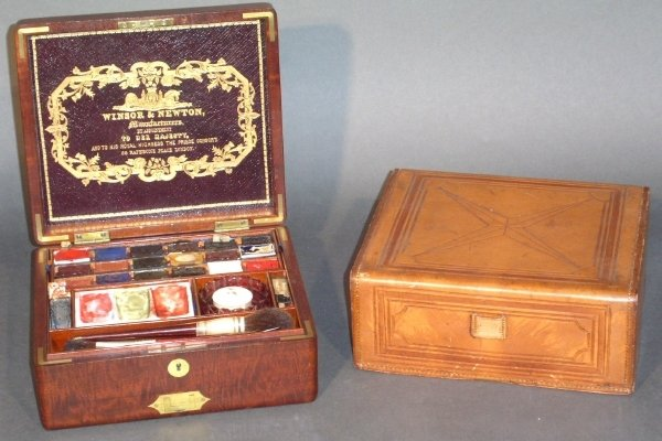 93: Early 19th c. mahogany and brass paint box with lea