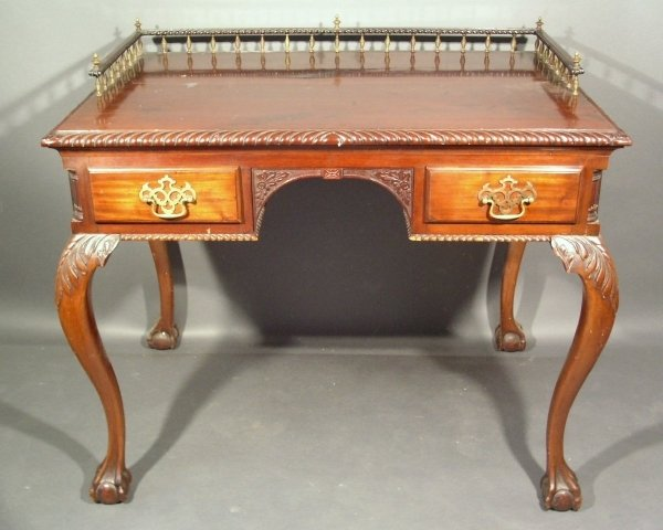 264: Chippendale style mahogany desk with rope carved e