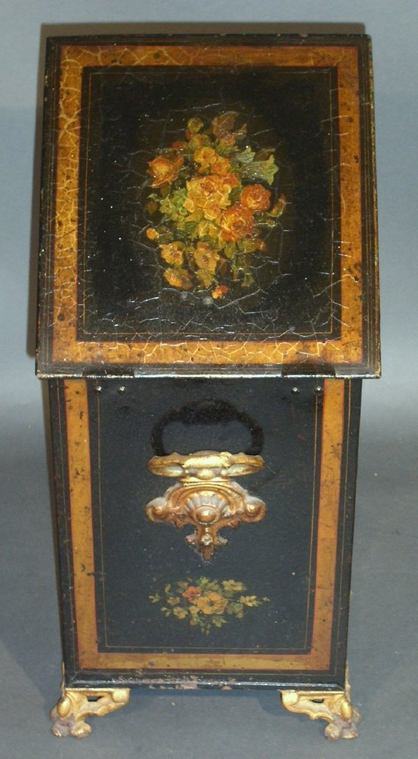 "265: Victorian coalscuttle, hand painted tin. 23.5""h.x1"