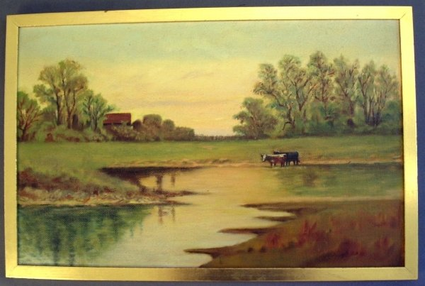 "267: Oil on board landscape with cows ""The Old Mill Pon"
