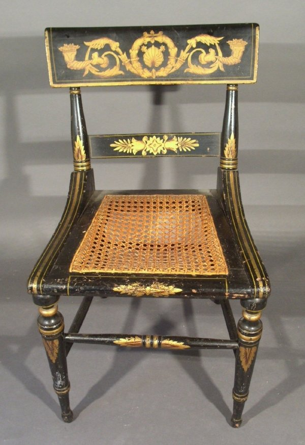 269: Stencil decorated black lacquer side chair with ca