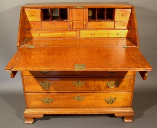 284: Chippendale cherry slant-front desk with fitted in