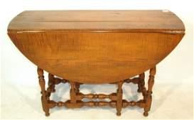 369 Curly maple gateleg dropleaf table 275hx422