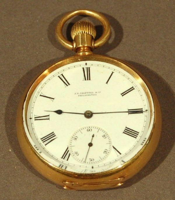 """453: Open-face 18k gold pocket watch, J.E. Caldwell, """"L"""