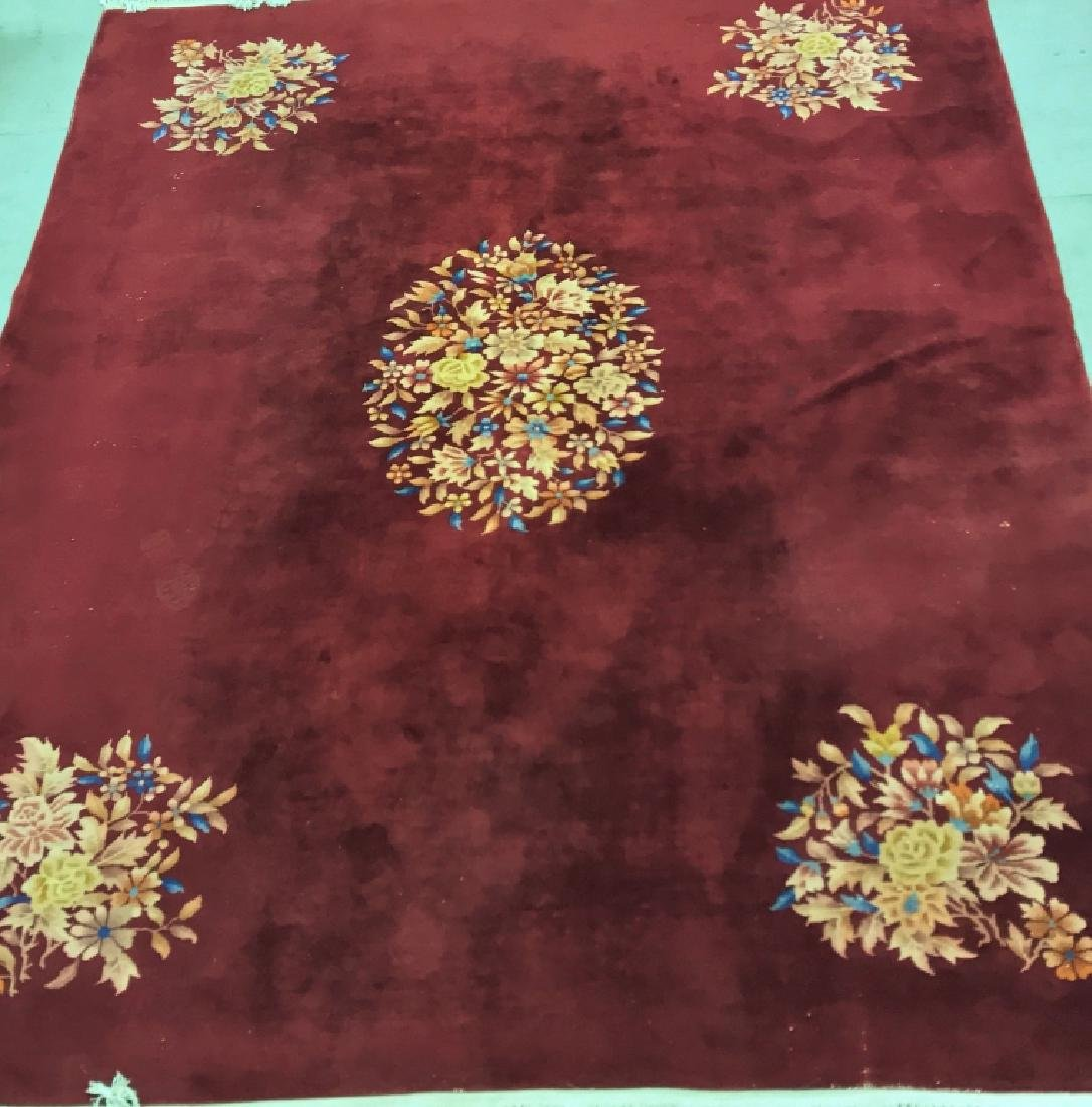 Room Size Burgundy Chinese Carpet