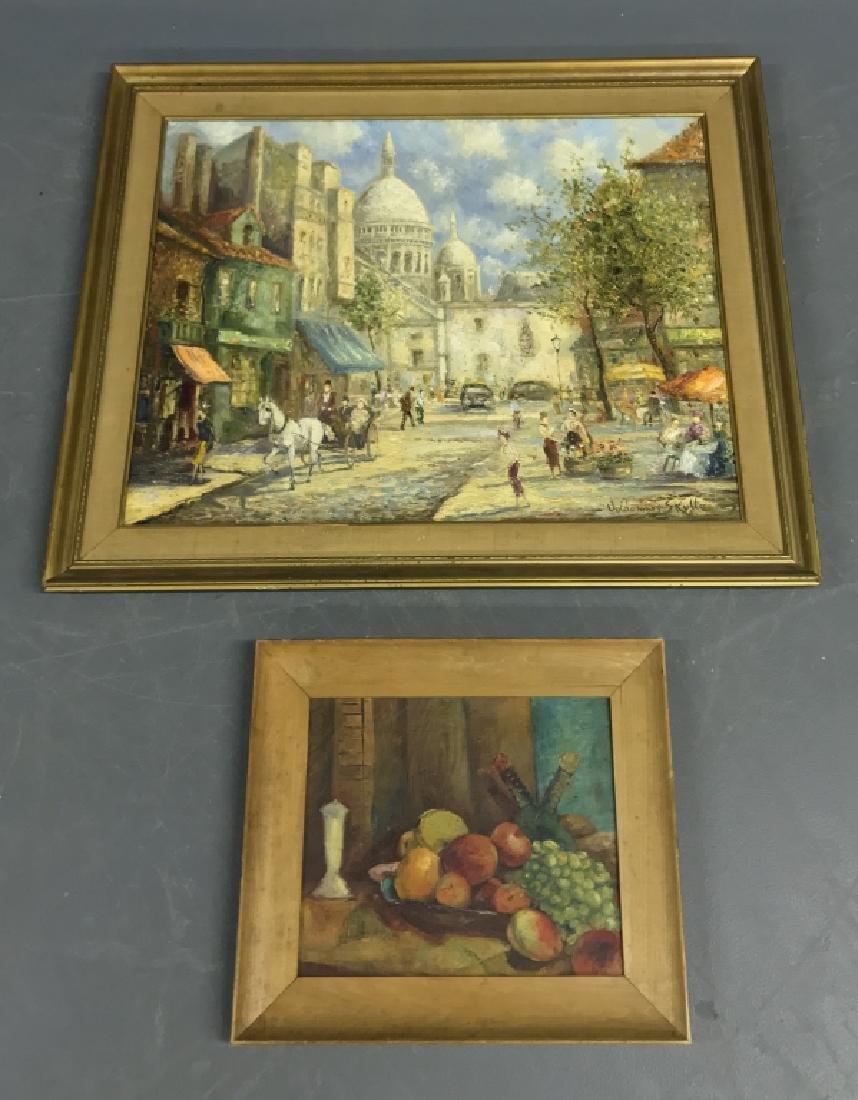 Oil on Canvas Street Scene