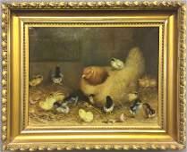 Ben Austrian Oil on Canvas Hen with Sixteen Chicks