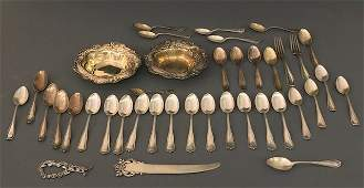 Grouping of Sterling Silver Dishes and Flatware