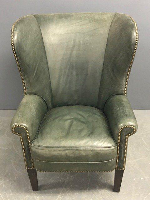 Ralph Lauren Green Leather Wing Chair
