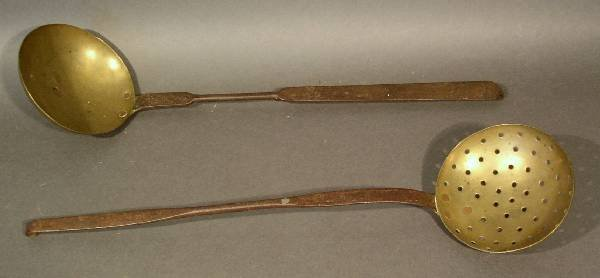 25: Wrought iron and brass dipper and sieve, 18th/19th