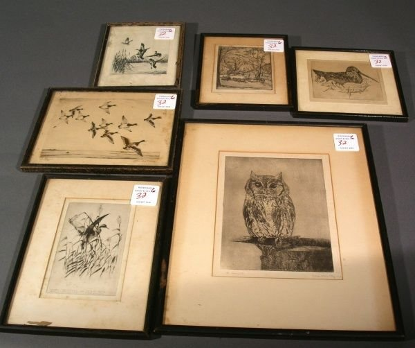 32: Six etchings & prints of birds, some by Richard Bis