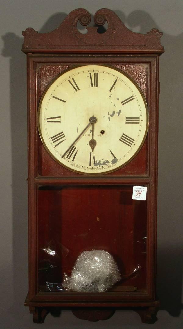 34: Seth Thomas mahogany cased wall clock, late 19th c.
