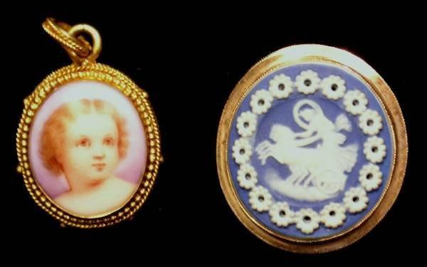 "38: Miniature portrait on ivory pendant, 1""x.75"" and bl"