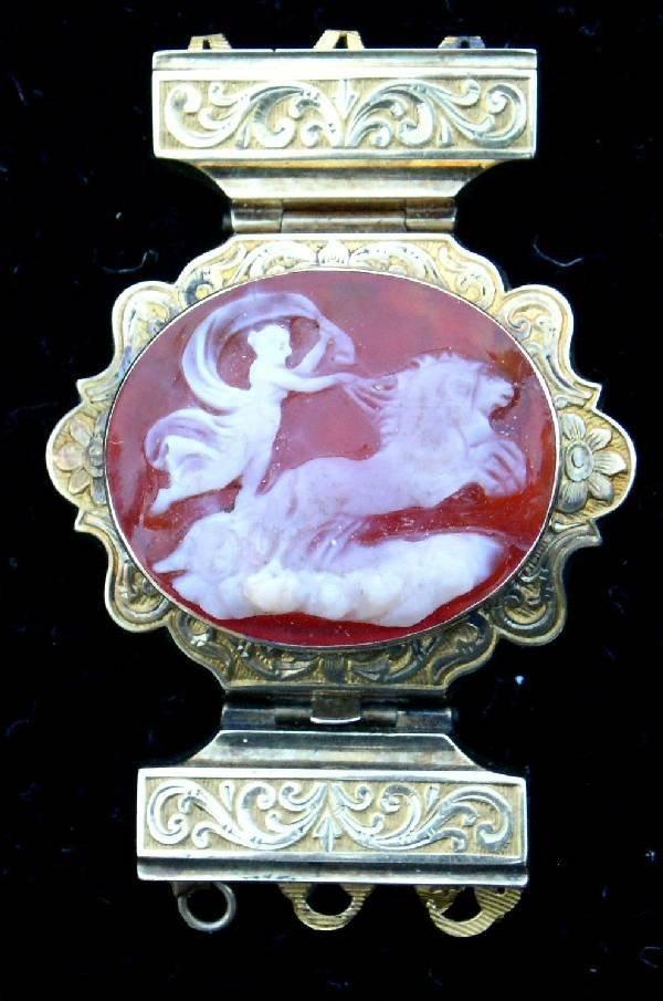 "39: Cameo bracelet clasp dated 1851. 1.5""x1.25"""