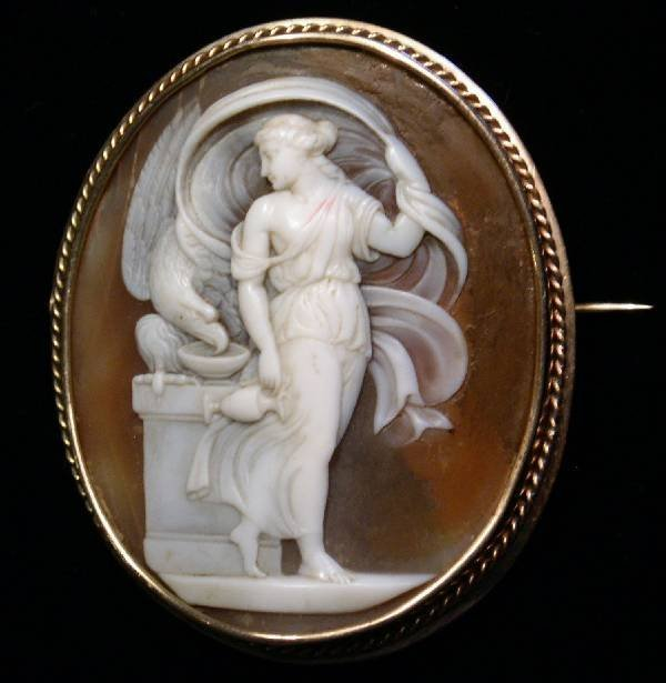 """43: Cameo brooch of a water maiden, 19th c. 2""""x1.5"""